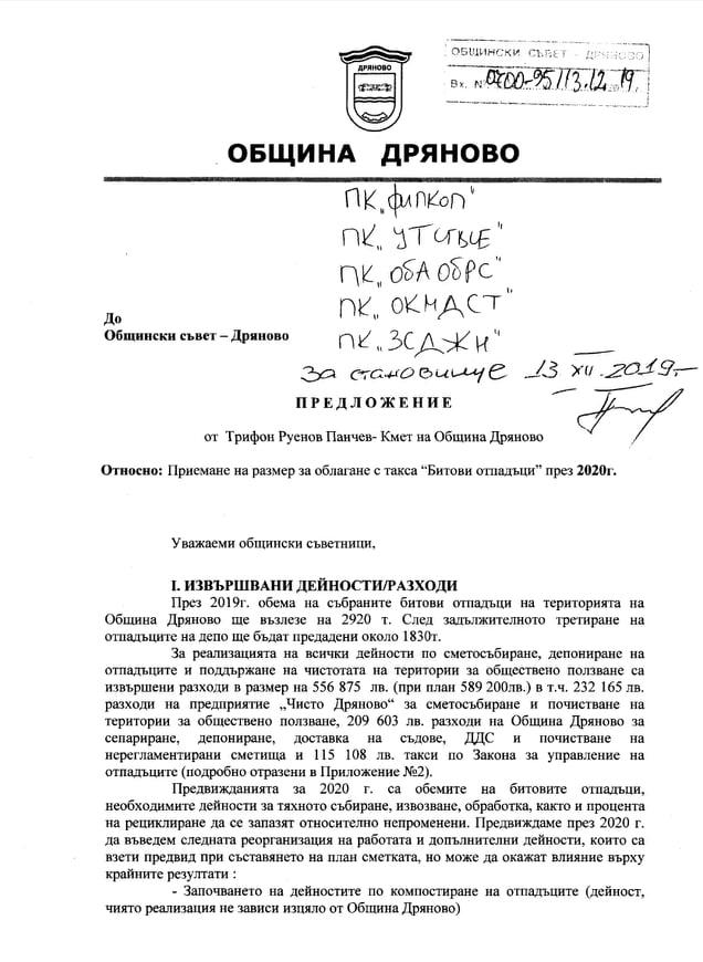 Предложението на кмета на община Дряново таксата за битови отпадъци да скочи с 18%
